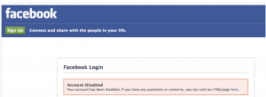 Facebook message that indicates the account has been disabled