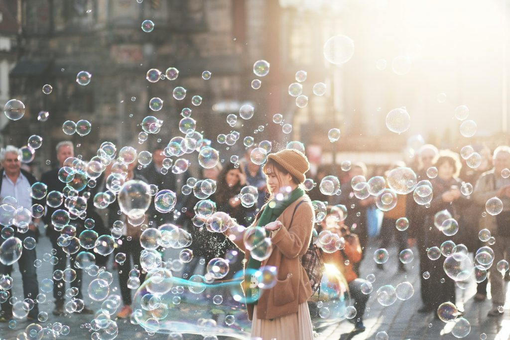 A random act of kindness might be as simple as blowing bubbles for everyone to see